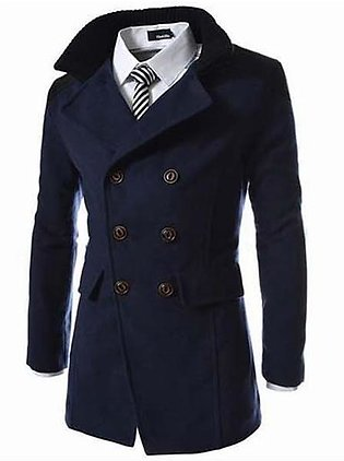 Mens Solid Double Breasted Mid-Long Thicken Trench Coat