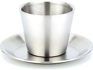 Two Pieces Set Double Layer Coffee Cup Europe Fashion Stainless Steel Hot Resis…