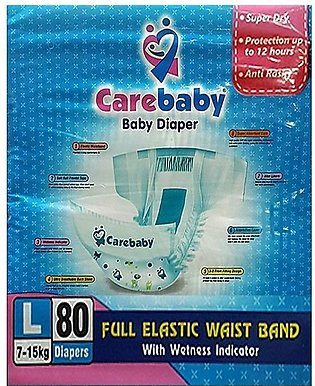 Care Baby Diapers Size 4 - (80 Pcs 7-18Kg) Wetness Indicator