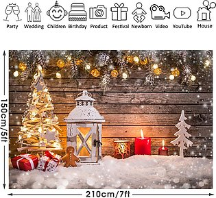 Christmas Tree Wood Wall Gift Photography Backdrop Studio Background Party Props