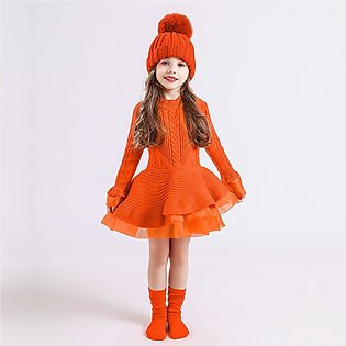 Toddler Baby Kids Girls Solid Tulle Warm Sweater Knit Crochet Princess Dress