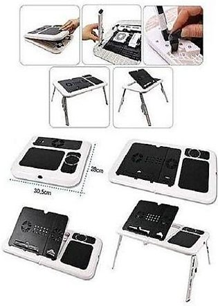 E-Table With Laptop Cooling Pad - White