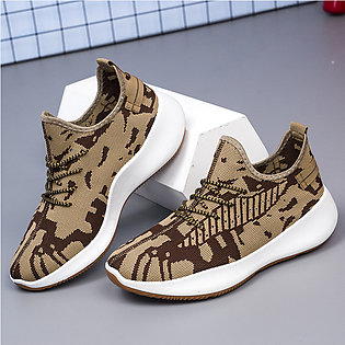 Couple Lace Up Sneakers Breathable Lightweight Flyknit Athletic Sports Shoes Fo…