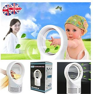 The Old Tree Portable Air Conditioner Table Mini Bladeless Fan 2 Speeds With Adapter White
