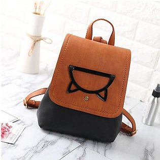 Pu Leather Pure Color Cartoon Cute Girl Backpacker Stitch Popular Trumpet Women…