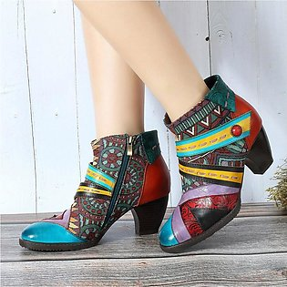 SOCOFY Bohemian Color Match Splicing Pattern Zipper Ankle Leather Women Boots