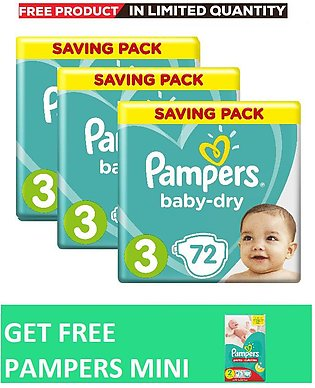 Pampers Pack of 3 Baby Dry Diapers Mega Pack Size 3, 72 Count