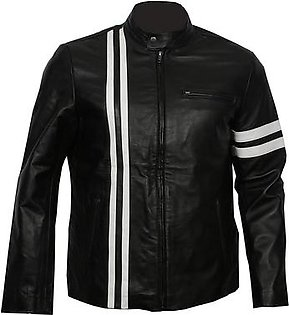 Leatherly X-men Fashion Motorbike Leather Jacket Motorcycle CE Protection Black Color White Color stripes