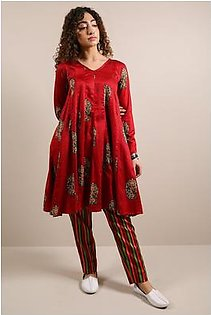 Generation-Stitched 2 - Piece Pre Fall Collection Paisley Mania 2-Pc Cotton Satin Contemporary-B29299T-Maroon