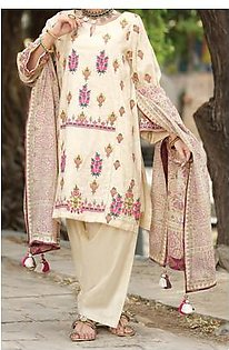 Almirah Summer Collection Vol: 03 COTTON SILK Off White Ladies 03 PC Stitched Suit for Women