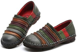 SOCOFY Fashion Genuine Leather Soft Flat Loafers Women Boat Shoes Rainbow Color