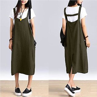 ZANZEA Womens Sleeveless Strappy Baggy Cotton Shirt Dress Dungarees Ladies Dr...