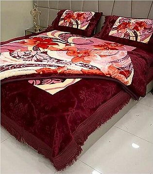 Decorum 4 Pcs Double Bed Embossed Bedcover Set With Blanket - Design # PL-201 /…