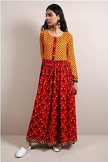Generation-Pre Fall Collection Mughal dress Cotton satin Contemporary+mom-B29066T-Red