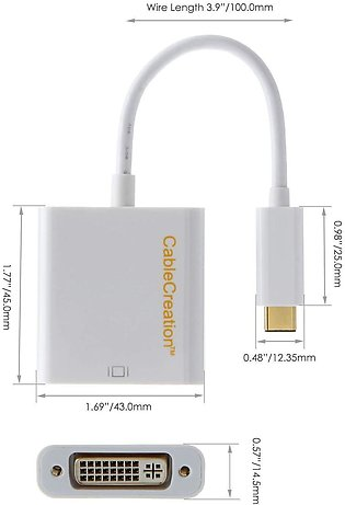 CableCreation USB-C to DVI,  Type C to DVI Adapter, Thunderbolt 3 Compatible,...