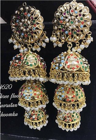 - Noratan Jhumki For Women Fashionable Famous Jewellery Traditional Style