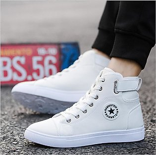 Mens High-top Canvas Shoes Lace-up High Style Sneakers