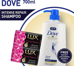 FREE PACK OF TWO LUX MANGOLIA SOAP 145 GM WITH DOVE SHAMPOO INTENSE REPAIR 70...