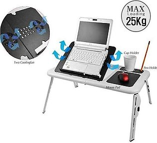 E-Table With Laptop Cooling Pad - White & Black