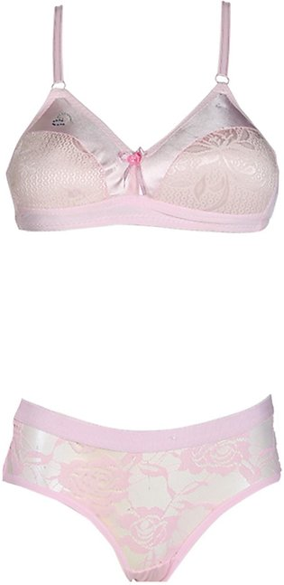 Set of Embroided Bra Panty Pink Color