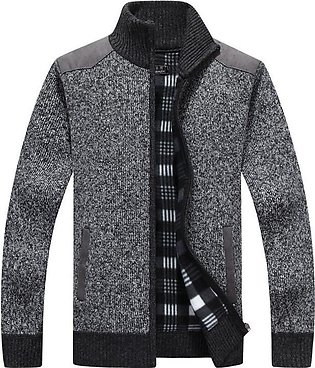 Mens Winter Warm Thick Velvet Knitted Sweater Coat Stand Collar Zip Up Casual...