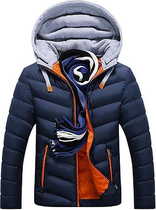 Mens Winter Thick Hooded Stitching Jacket Fashion Padded Casual Warm Zipper P...