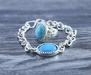 Blue Oval Feroza Stone Royal Silver Plated Ring and Bracelet For Men