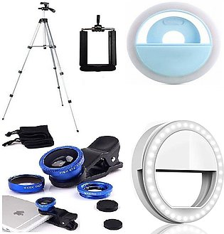 3110 Tripod Stand For Cameras With Selfie Ring Light Flash And 3 In 1 Mobile Le…