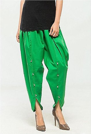 Green Cotton Tulip Shalwar For Women