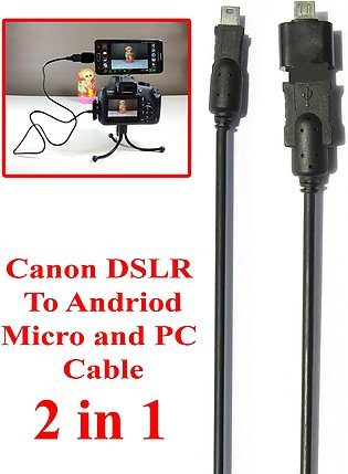2 in 1 For Mobile Andriod Micro And PC Canon DSLR Camera Data Cable Also Works …
