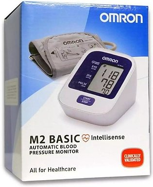 Omron M2 Basic - Blood Pressure Monitor with 3 Years Warranty- White & Blue