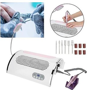 Multi-functional Electric Nail Drill Machine Nail Art Dust Suction Collector UV LED Light