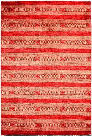 4 X 6  Red color Modern hand-knotted Area Rug in Striped Desgned