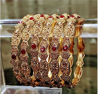 ZA jewellery 6 gold Plated bangles For Women
