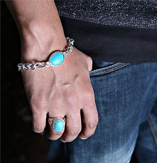 Pack of Royal Silver Plated Blue Oval Feroza Stone Ring and Bracelet For Men