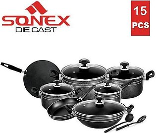 SONEX Classic Edge Gift Pack Cookware Set - 15 Pieces - Non Stick Coating - B...