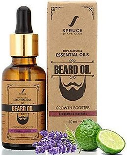 Spruce Shave Club - Bergamot & Lavender - Growth Booster Beard Oil - 9 Natural Oils For Beard Growth 15ml - MADE IN UK