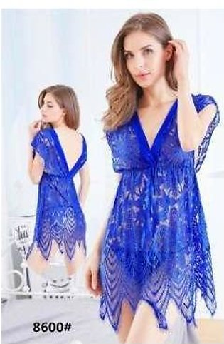 New Blue Net Lace Sleep Wear And Night Wear Lingerie Set For Women And Girls