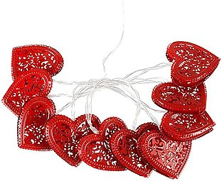 1 Pieces Valentine's Day String Light Decoration Red Heart Shape Light Heart ...