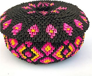 Origami Paper Basket With Lid (Multi Colored)