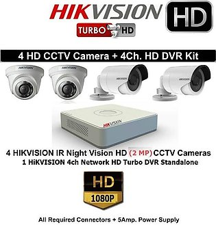 Hikvision CCTV Package-DVR-Model DS -7104HGHI-F1- 4channel-2mp 4 cameras-HD Q...