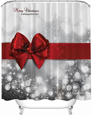 180x180cm Christmas Red Bow Knot Waterproof Polyester Shower Curtain + 12 Hooks
