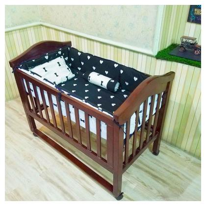 Real Wood Baby Cot Crib Children Bed with Free Mattress and Bumpers set