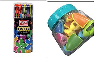 Pack Of 2 - Oro Trifle Lead Pencil And KITA - Sharpener 36 Pcs