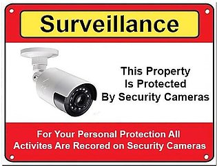 SurveilIance Warning CCTV Camera Stickers Signs Decals A4 Sized