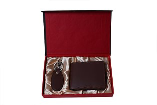 Genuine Leather Wallet + Leather Key-Chain Gift Set - Brown
