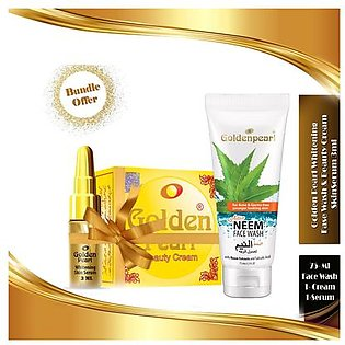Golden Pearl Whitening Skin Serum & Beauty Cream & Neem Face Wash