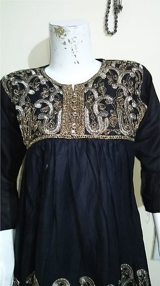 Black color embroidered and stitched shirt for females stuff cotton by A-J Co...