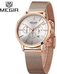 MEGIR MS2011L Women Watches Casual stainless steel Strap Waterproof Chronograph Quartz Wrist Watch - intl