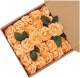 50Pcs Light Orange 7CM PE Foam Roses Flower Decoration DIY Wedding Party Bouq...